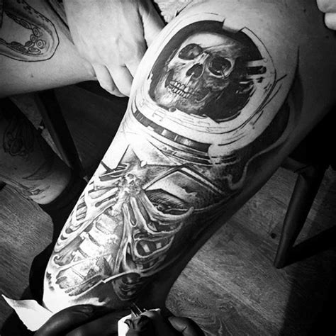 black and white space tattoo awesome black and white realistic skeleton in space helmet