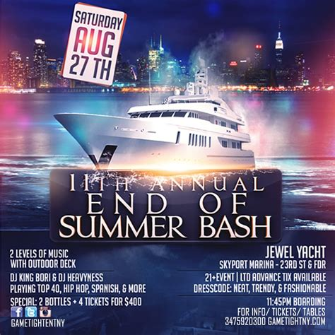 yacht boat party nyc ra end of summer yacht party at skyport marina new york
