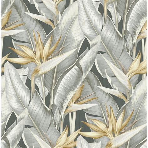 grey wallpaper with leaves kenneth james arcadia grey banana leaf wallpaper ps40200