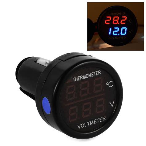 Voltmeter Digital Mini mini car led dual display digital thermometer voltmeter