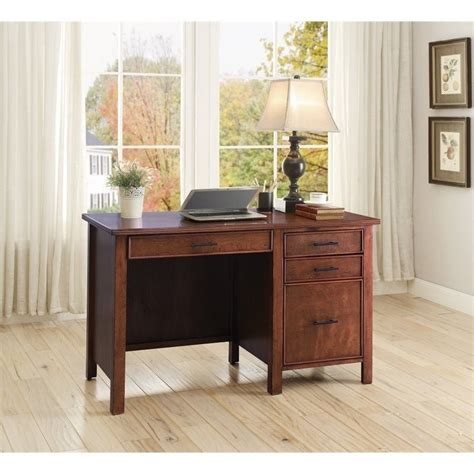 desk l with outlet coaster 4 drawer computer desk with outlet in brown