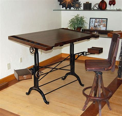 Hand Crafted Walnut Iron And Bronze Dual Taboret Custom Custom Drafting Table