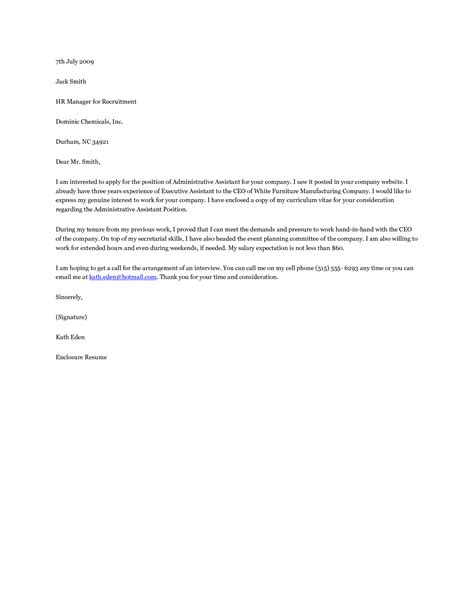 administrative assistant cover letter example resume cover letters