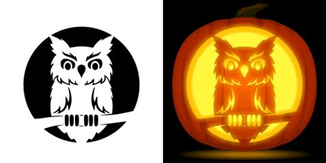 printable owl pumpkin carving patterns owl pumpkin carving stencil free pdf pattern to download