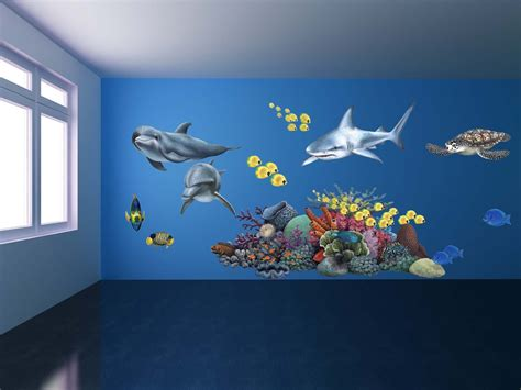shark bedrooms giant shark wall sticker giant animal decals fun decor