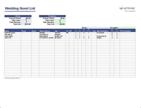 free download wedding guest list template for excel