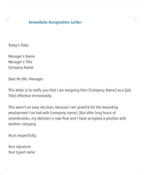 resignation letter exle 7 sle immediate resignation letter free sle