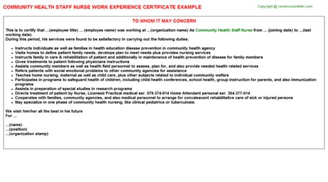 Work Experience Letter For Nursing Staff Work Experience Certificates