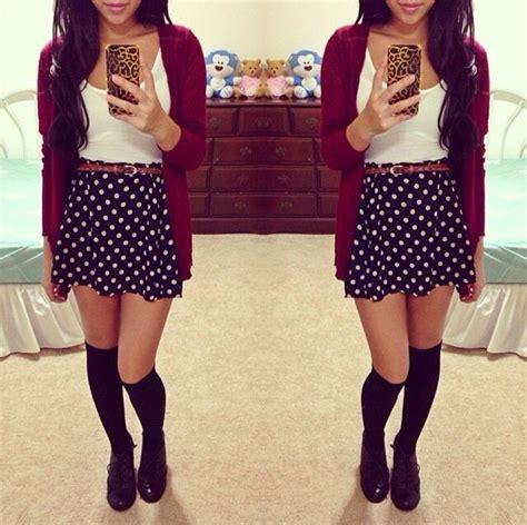 outfits with knee high socks skirt red cardigan polka dot skirt and knee high black socks