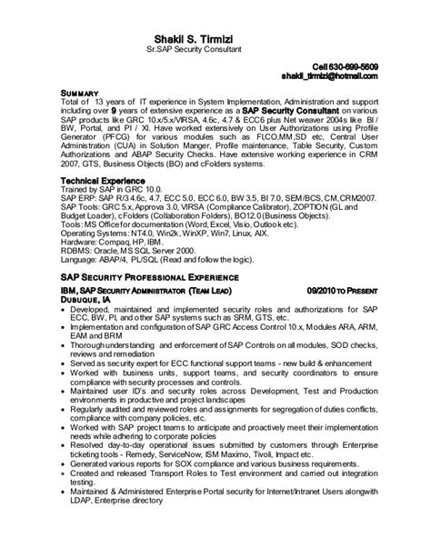 Sle Consultant Resumes Exles by Sap Security Consultant Resume Sles 28 Images Sap