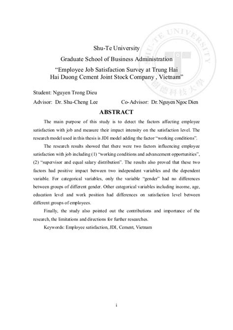 Letter For Research Supervisor Thesis Satisfaction Trung Hai Company