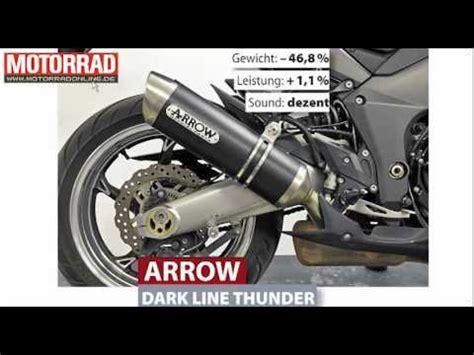 Motorrad Auspuff Arrow by Arrow Dark Line Thunder Kawasaki Z1000 Auspuff Youtube