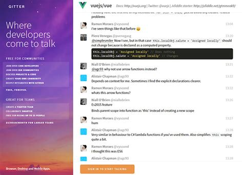 gitter chat best free vue js learning resources