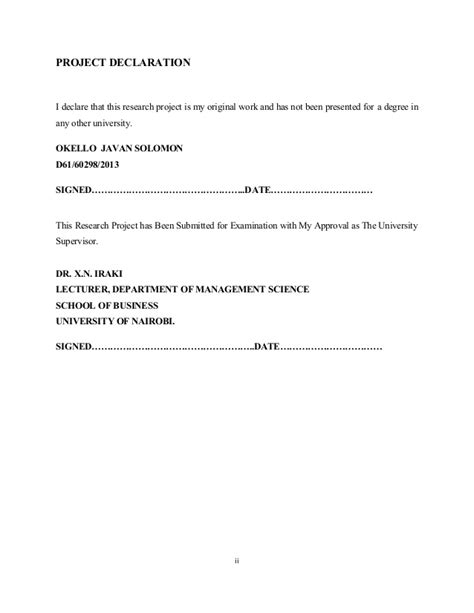 Of Nairobi Mba Project Guidelines by Markovian Application To Product Switching A Survey Of