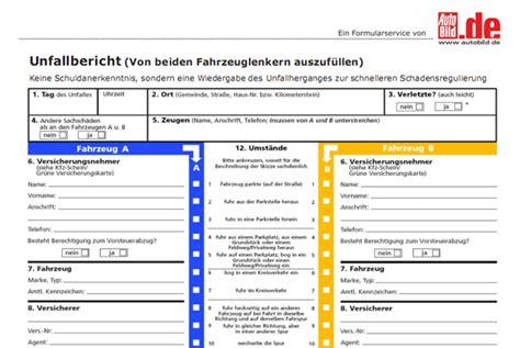 Auto Unfallbericht by Unfallbericht Vorlage Zum Ausdrucken Kostenlos Runterladen