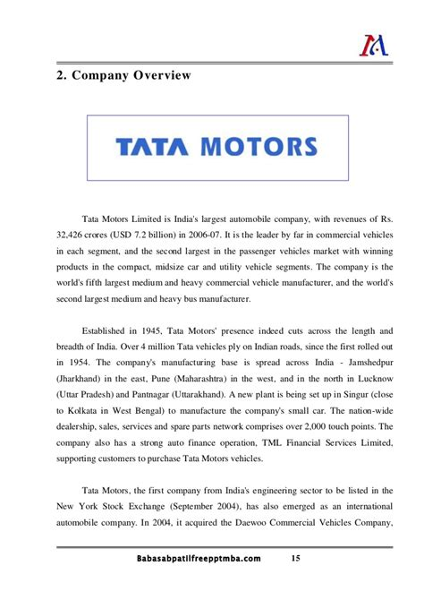 Work Experience Certificate In Kolkata A Project Report On Orgnoziation Study Of Tata Motors