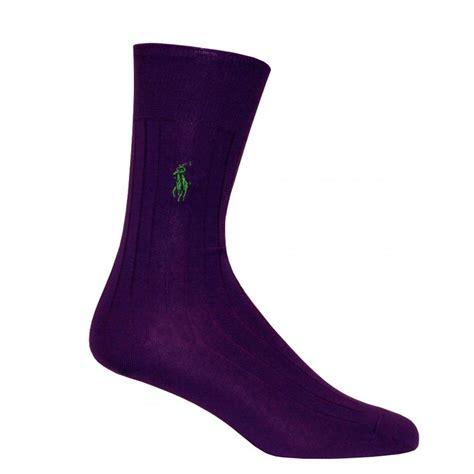 New Home Essentials Polo Ralph Lauren Egyptian Cotton Ribbed Socks Purple