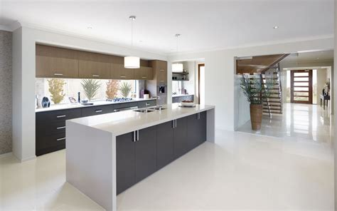 white kitchen bench white waterfall bench top with grey cupboards home decor pinterest grey