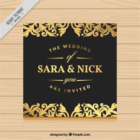 wedding invitations freepik wedding invitation with gold ornaments vector free