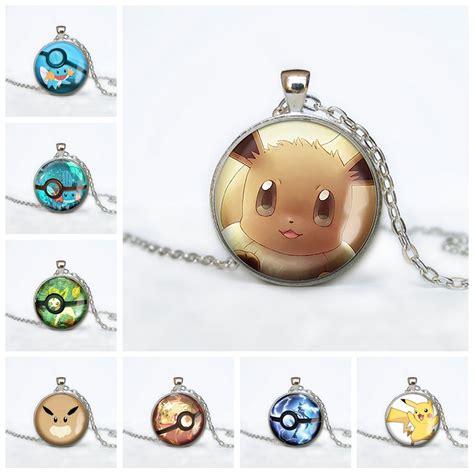 Mudkip Leafeon Mewtwo Starter Glass Necklace Pokemon Jewelry Eevee Evolution Pokeball Pendant