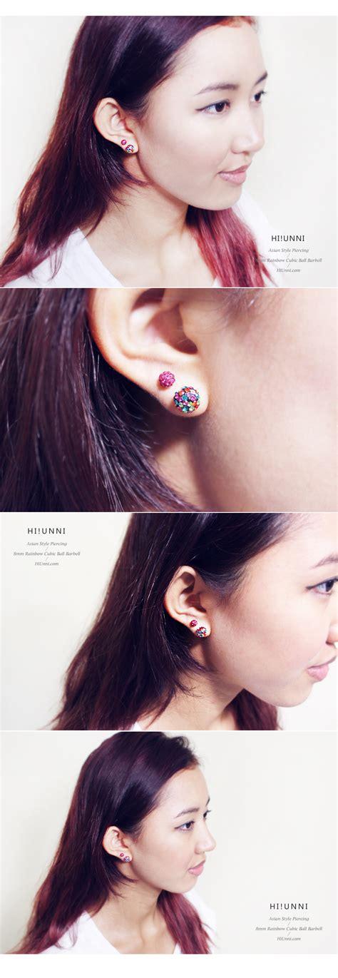 Rainbow Earing Korea 16g large 8mm rainbow ferido cartilage earring conch helix tragus ear stud jewelry 316l