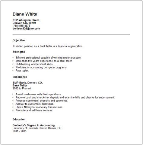 Bank Teller Resume Objective by Bank Teller Resume Exle Free Templates Collection