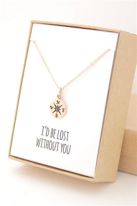 gold compass necklace christmas gifts for her mother