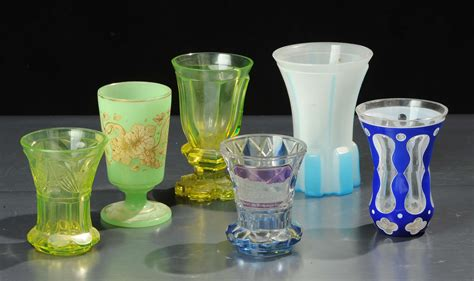 bicchieri di boemia lotto di sei bicchieri in vetro di boemia antiquariato e