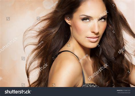 dark haired beautiful women modeling clothes portrait beautiful woman long brunette fashion stock photo