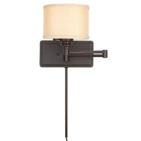 bedroom wall with cord hton bay brookhaven 1 light bronze swing arm sconce