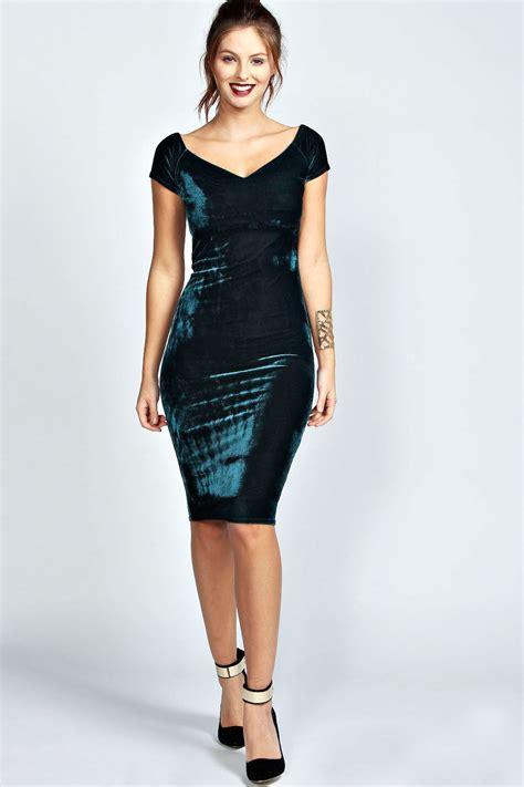Velvet Mididress boohoo knee length velvet midi bodycon dress ebay