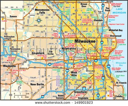 map of milwaukee area milwaukee wisconsin stock photos images pictures