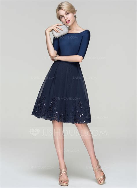 Dress Cocktail by A Line Princess Scoop Neck Knee Length Tulle Cocktail