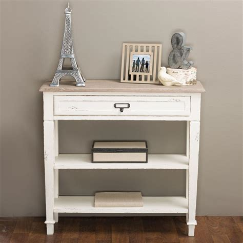 accent console table baxton studio dauphine white and light brown storage