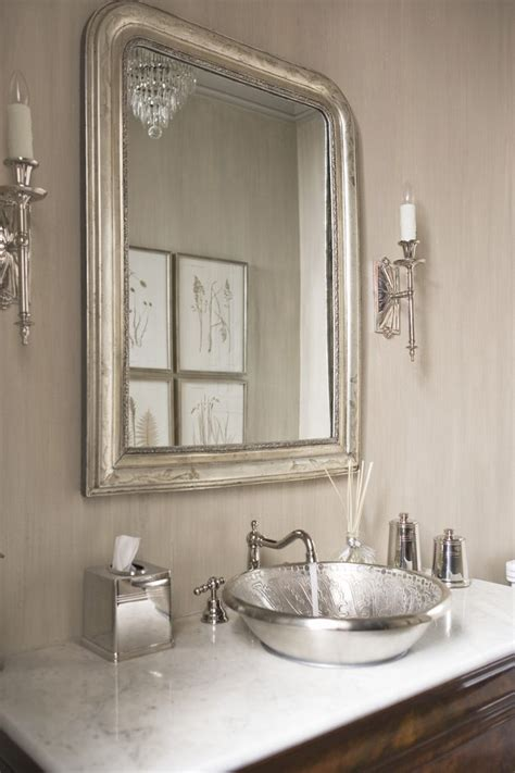silver bathroom mirror rectangular sparkling polished nickel mirror with shaker style