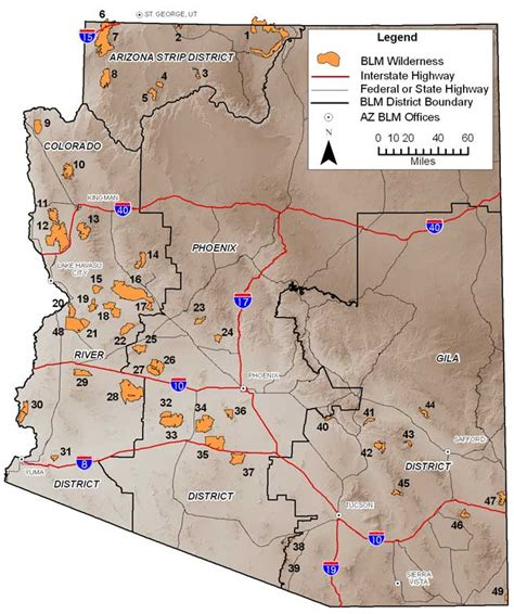 arizona blm land map blm az wilderness areas map