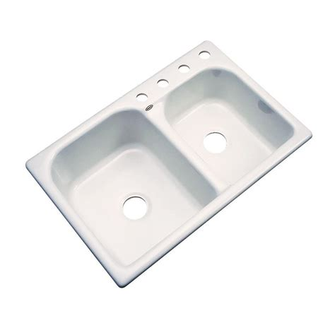 Thermocast Kitchen Sinks Thermocast Cambridge Drop In Acrylic 33 In 4 Bowl Kitchen Sink In Almond 45402