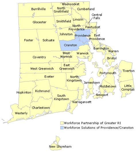 rhode island city map workforce partnership of greater ri service area map