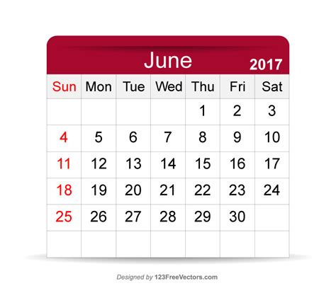 Calendar Of June June 2017 Calendar By 123freevectors On Deviantart