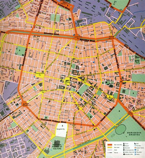 tourist map of central large detailed tourist map of central part of sofia city
