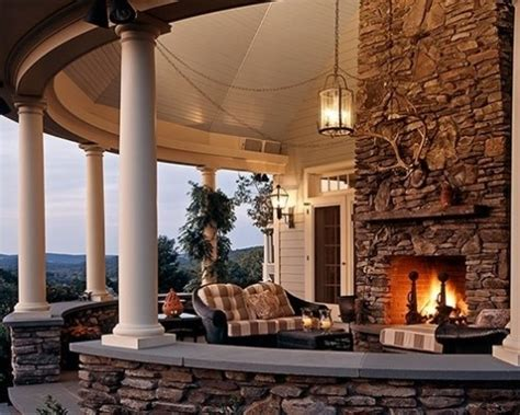 outdoor fireplace covered porch home idea s dream