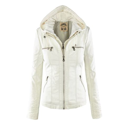 fashion pu leather hooded top blouse trench parka jacket overcoat coat ebay