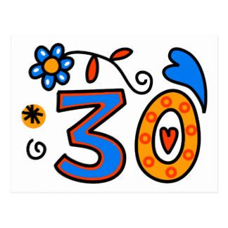 thirtieth birthday postcards | zazzle