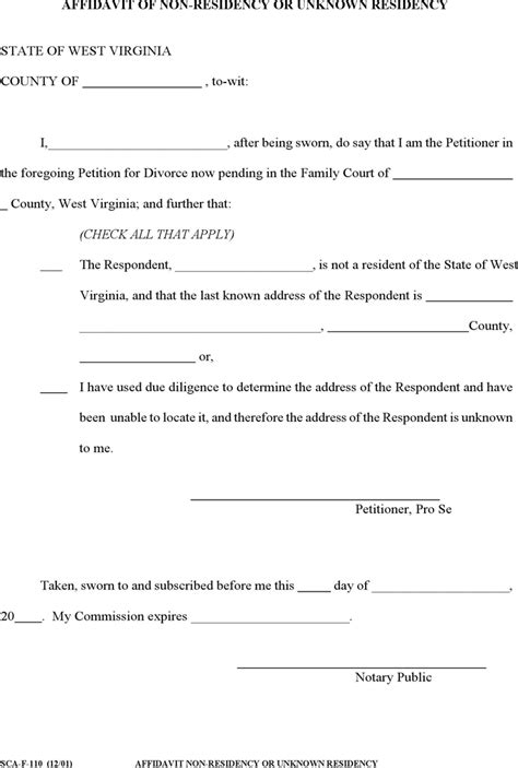 Proof Of Residency Va Letter The West Virginia Affidavit Of Non Residency Or Unknown Residency Form Can Help You Make A