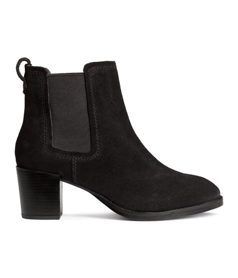 h and m boots h m suede ankle boots in black lyst