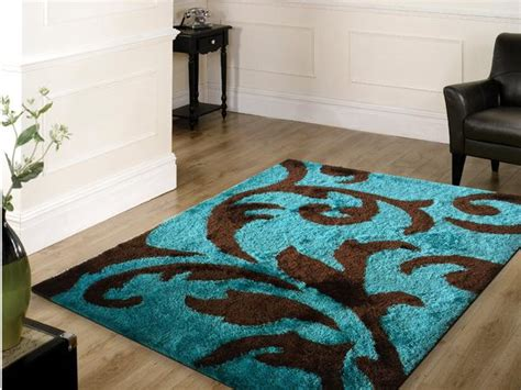 Soft Rugs For Bedroom by Soft Indoor Bedroom Shag Area Rug Brown With Turquoise