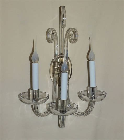 Glass Wall Sconce Wonderful Pair Of Modern And Transitional Vintage 3 Arm Glass Wall Sconces At 1stdibs