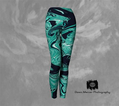 Womens Robo Legging Print Compression artsy teal black tights printed womens workout wear stylish