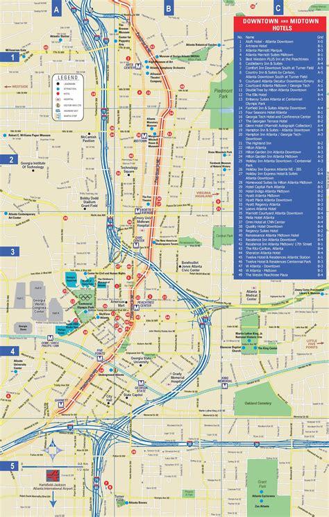 atlanta city usa map atlanta downtown and midtown hotel map