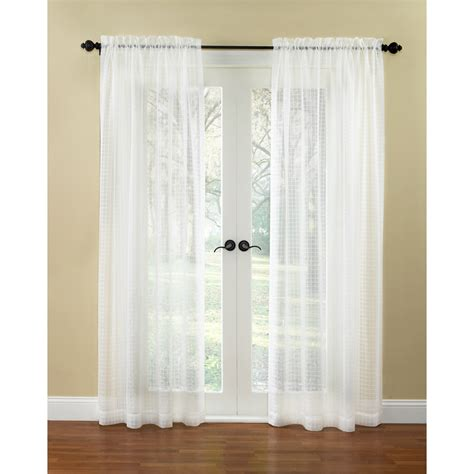 Waverly Curtains Drapes Shop Waverly Windowpane 84 In L Checked Ivory Rod Pocket Window Curtain Panel At Lowes